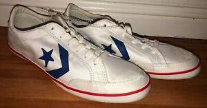 Converse Cons Low Nylon Vintage Shoes White Mens Sz 9