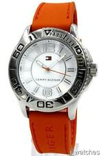New Tommy Hilfiger Orange Silicone Band White Dial Men Dress Watch 48mm 1790951