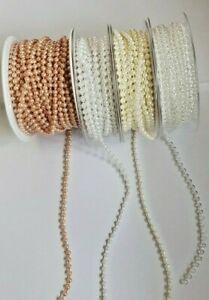 2 metres of 4mm Pearl bead string sewing, cake, Wedding, Bridal Craft, Trimming,