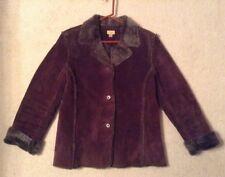 EUC! Women's Caslon Brown Genuine Leather Shearling Faux Fur Lined Jacket Sz L