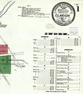 Clarion, Pennsylvania~Sanborn Map©sheets~(8) in  color ~made in 1906