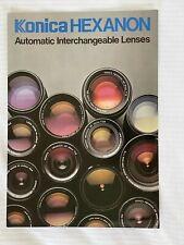Konica Hexanon automatic Interchangeable Lenses, A4 Brochure, 1978
