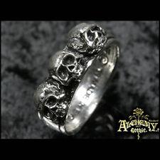 Ring Bague Alchemy Gothic Caput Mortum Skulls Crânes Vintage ancien RARE