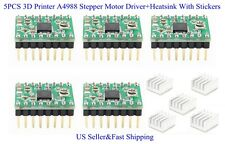 5PCS 3D Printer A4988 Stepper Motor Driver+Heatsink With Stickers For Reprap US