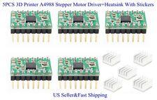 5PCS 3D Printer A4988 Stepper Motor Driver+Heatsink With Stickers For Reprap US