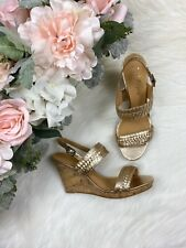Jack Rogers Tinsley High Wedge Gold Platinum Size 8.5 New In Box