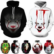 3D Print Sweatshirt Hoodie Stephen King It Pennywise Horror Clown Sportswear Men
