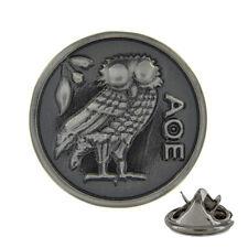3D Owl of Athena Brushed Metal Pin Badge mythology wisdom ΑΘΕ minerva AJTP145