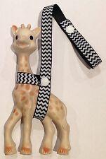 WHITE/BLACK CHEVRON Toy saver strap for Sophie the giraffe & other toys etc.
