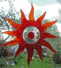 RED SUN BURST* SUN CATCHER 31 cm STAINED GLASS EFFECT