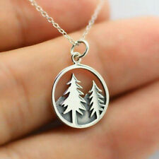925 Sterling Silver Jungle Tree Beautiful Pendant Chain Necklace Story Jewelry*