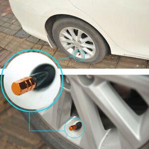 4x Orange Aluminum Tire Valve Stem Air Dust Cover Cap Wheels Car Truck SUV Bike