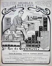PUBLICITÉ DE PRESSE 1909 MEUBLES BUREAUX MODERNES COSMOS CLASSEUR A RIDEAU