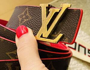 "Louis Vuitton LV Initiales Red Monogram Canvas Leather BELT 85cm / 34"" AUTHENTIC"