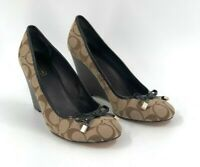 Coach Womens Monogram Signature Wedge Heeled Pumps Brown and Tan Size 8 US
