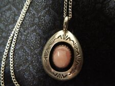 Vintage Navajo Sterling Silver Apricot Agate Pendant Necklace SIGNED AG Goodluck