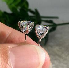 Cubic Zirconia Round Stud Earrings Wedding Women Men Fashion 925 Silver Plated