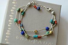 Silpada Sterling Silver Lapis Turquoise Jasper Seed Bead Bracelet B0788 DEFECT