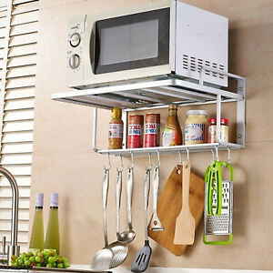 Wall Mount Microwave Oven Rack Bracket 2Tier Stand Shelf Storage Cabinet Kitchen