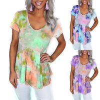 ❤️ Womens Tie Dye Short Sleeve Tunic Tops T-Shirt Ladies Casual Crew Neck Blouse
