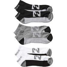 BILLABONG MENS 3 PACK BLACK/GREY/WHITE ANKLE / TRAINER SOCKS SIZE 7-12 7S/SO02/1