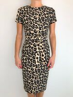 ZARA BASIC animal print fitted sash waist body con short sleeve dress size sml