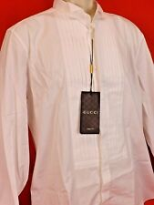 NWT GUCCI WHITE WING TIP COTTON SLIM FIT FRENCH CUFF TUXEDO SHIRT 17.5 44 310064