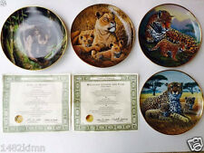 4pc National Wildlife Federation Collector Plates Jaguar Cheetah Lioness Ys41616