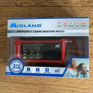 New In Box Midland ER210 Emergency Crank Weather Radio AM/FM Flashlight USB NOAA