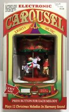Vintage Battery Operated Musical Christmas Carousel with Lights 12 Songs