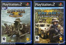 Lot SOCOM 1 + 3 US Navy Seals jeu de guerre console sony PlayStation 2 complets
