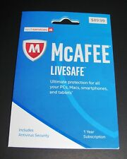 New McAfee LiveSafe 17 – 1 YEAR ALL DEVICES PC/Mac/Phone/Tablet/iOS (Download)