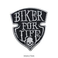 Biker For Life Logo Embroidered Patch Iron on Sew On Badge For Clothe etc