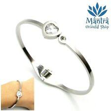 9a68ff41b1e424 Bracciale rigido da donna in acciaio con cuore zirconi argento braccialetto  per