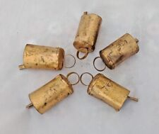 Lot of 5 Golden Painted Vintage Collectible Iron Cow Camel Goat Ox Bells 01