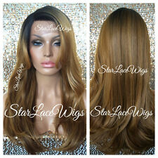 Long Straight Lace Front Wig Ombre Mixed Blonde Highlights Dark Roots Heat Safe