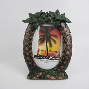 Tradewind Bay Collection Portrait Oriented Free Standing Palm Trees Oval Frame