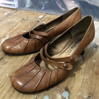 Tamaris Shoes Mary Jane Brown Leather Size 4 37 Vintage Style Rockabilly 50s