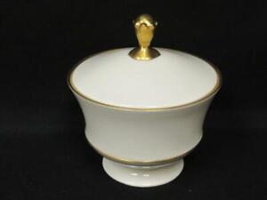 Lenox China Lyric Collection Candy Jar & Lid Cream Gold Gilt Trim