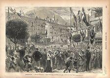 Fêtes de Vaucanson Place Grenette à Grenoble GRAVURE ANTIQUE OLD PRINT 1876