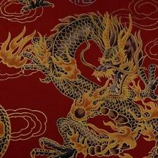 Metallic Gold, Charcoal Asian Dragons on Deep Red, Cotton Fabric BTY