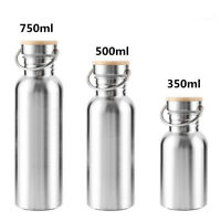 Stainless Steel Wide Mouth Drinking Water Bottle Sports Bamboo Cap Large