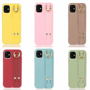 For iPhone 12 11 Pro Max X XR 8 7 Plus Solid Wristband Shockproof TPU Case Cover