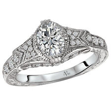 NEW 14k WHITE GOLD SEMI-MOUNT DIAMOND OVAL ENGRAVED ENGAGEMENT RING 7mm x 5mm