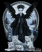 Gothic Snow Leopard Queen Ice Fairy Wynter Ltd Signed CANVAS Embellished