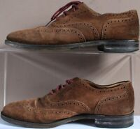 Loake England Suede Lace Brogues - UK Size 6 - Tan Dark Brown - Mens - Shoes