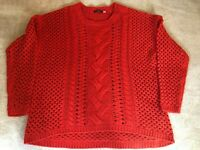 Fylo Women's Red Chunky Cable Crew Neck Sweater 2XL