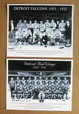 Detroit Falcons 1931-32 & Detroit Red Wings 1932-33 Team Photos, B&W 8x10 Pair