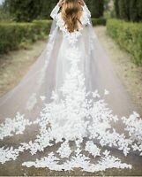 Cathedral Length Wedding Capes Cloak Bridal Jackets Lace Flower Shoulder Veils
