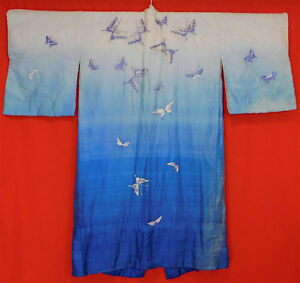 Antique Japanese Blue Silk Ombre Embroidered Butterfly Belted Kimono Robe Vtg